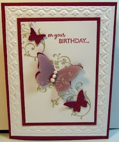 Vellum Butterfly card ... Stamps: Elements of Style, On Your Birthday ... Inks: Crumb Cake, Raspberry Ripple ... Papers: Raspberry Ripple, Whisper White, Vellum ... Accessories: Framed Tulips embossing folder, Butterfly wings embosslits, Pearls