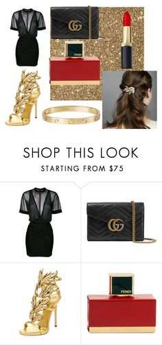 """""""party girl"""" by saraasecci on Polyvore featuring Balmain, Gucci, Giuseppe Zanotti, Fendi and Cartier"""