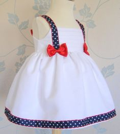 Inspiration for a patriotic doll dress. Little Dresses, Little Girl Dresses, Sewing For Kids, Baby Sewing, Baby Frocks Designs, Baby Dress Design, Baby Dress Patterns, Kids Frocks, Toddler Dress