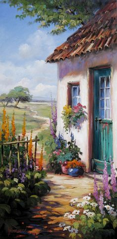 Farm garden in front of a romantic house with green door - Painted Doors, Acrylic Art, House Painting, Painting Inspiration, Landscape Paintings, Watercolor Paintings, Cool Art, Art Projects, Art Photography