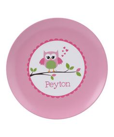 Pink Owl Love You Personalized Plate