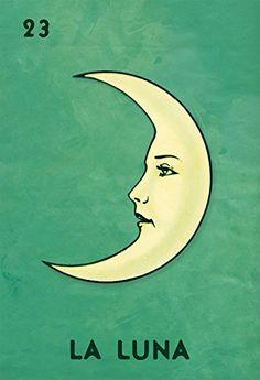 Loteria La Luna Mexican Retro Illustration Art Print Vintage Giclee on Paper Canvas Poster Wall Decor | The Artisan Shoppe