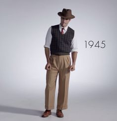 1945 Pin for Later: Watch 100 Years of Men's Fashion in Under 3 Minutes 1945 1940s Mens Suits, 1940s Mens Fashion, Men's Fashion, Edwardian Fashion, 40s Outfits, Look Man, Men Casual, Afternoon Dresses, Madeleine Vionnet