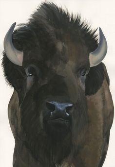 "The Buffalo 14""x20"" gouache on paper Carrie Merill"