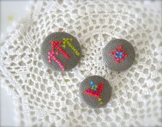 Cross Stitch Brooch Set  Neon by theowlsarehunting on Etsy, $17.00