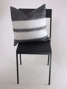 William+Yeoward+Scillo+Cushion+Cover, £20.00 Charcoal grey and white stripe cushion. Relaxed luxury neutral boho style.