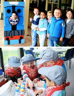 All Aboard! Train Party photobooth and bubble games! The little controllers look so good in their outfits too!