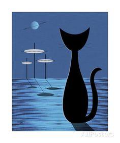 Space Cat in Blue Fotoprint van Donna Mibus bij AllPosters.nl