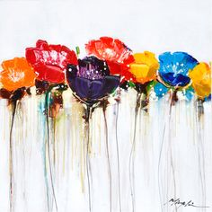 Jeweled Poppies I Original Hand painted Wall Art