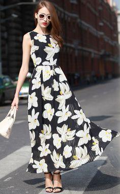 Black Sleeveless Floral Striped Maxi Dress 26.00