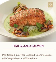 Thai Glazed Salmon Pan Seared And Served With Vegetables And White Rice In A Delicious Thai