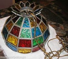 Vintage glass lampshade tiffany style stained slag glass ceiling vintage tiffany style stained glass chandelier hanging light or lamp shade aloadofball Gallery