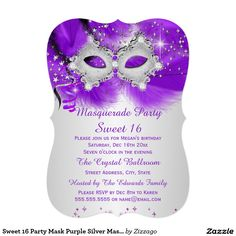 Shop Sweet 16 Party Mask Purple Silver Masquerade Invitation created by Zizzago. Masquerade Party Invitations, Masquerade Ball Party, Sweet 16 Masquerade, Sweet 16 Invitations, Invitation Paper, Create Your Own Invitations, Purple Sweet 16, Elegant Birthday Party, Sweet 16 Parties