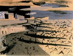 John Piper Breakwaters at Seaford 1937 Seascape Paintings, Landscape Paintings, Landscape Prints, Art Paintings, John Piper Artist, Royal College Of Art, Sense Of Place, Gravure, Abstract Landscape