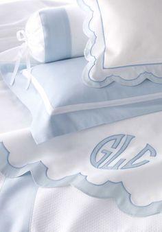 Fine linens: Must have at least one gorgeous pair of white monogram linens. ~Kennedy Chic