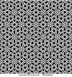 Seamless abstract floral pattern. Stylish black and white background. Geometric leaf ornament. Stylish graphic design