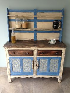 Ercol dresser upcycled by urbanrook.co.uk w Annie Sloan colours and bluebell fabric