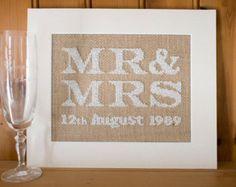 Shabby Chic Personalised Wedding Sampler - Mr & Mrs