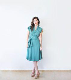 Short Sleeve Dress For Women Green Jersey Dress Summer by Lirola, $99.00