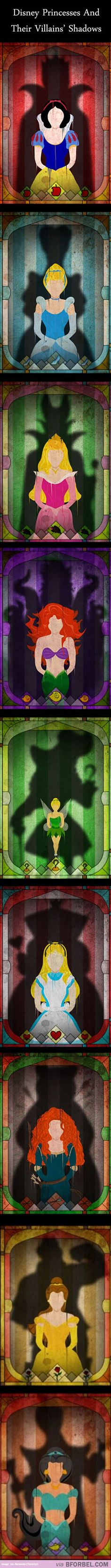 Disney princesses in their villains silhouettes