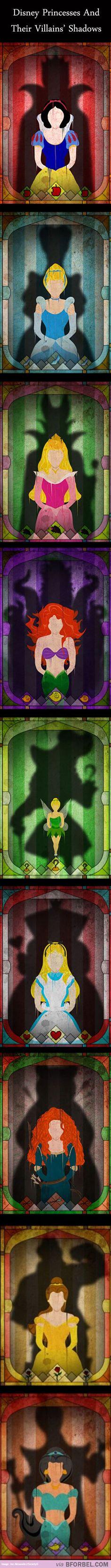 Disney princesses in their villains silhouettes