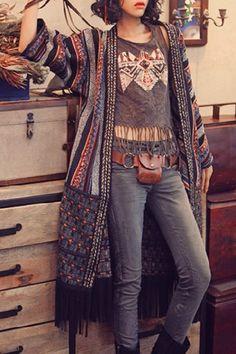 Vintage Color Block Striped 3/4 Sleeve Tassel Hem Coat For Women Coats | RoseGal.com Mobile