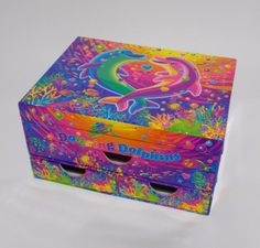 Lisa Frank Dancing Dolphins Storage Box Craft Chest Mirror Drawers #LisaFrank