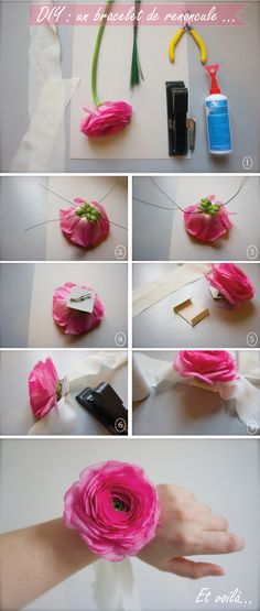 {Flower-power} DIY : un bracelet de renoncule...