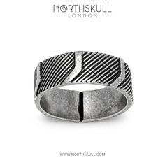 Stylish in its design, our aged silver 'Mantz' Ring will bring a touch of modernity to your ensemble. Match it with our new Aged Silver 'Mantz' Cuff to complete your look. | Available now at Northskull.com [Worldwide Shipping] #Luxury #Jewelry #MensAccessories