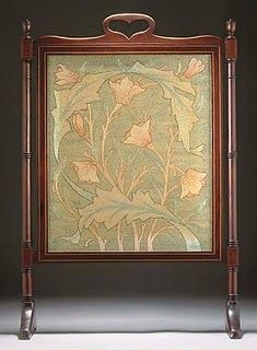 Firescreen mahogany, silk 32 5/8in. (82.8cm.) high designed by May Morris