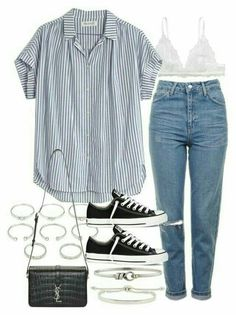 Pin by maja nurek on outfit ideas in 2019 базовая одежда, ст Spring Outfits, Trendy Outfits, Fashion Outfits, Summer Outfit, Look Fashion, Korean Fashion, Mode Kpop, Mode Lookbook, Jugend Mode Outfits