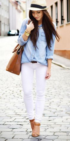 Chambray + white jeans