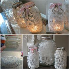 doily mason jar luminaries