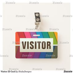 Shop Visitor ID Card Badge created by ShabzDesigns. Visitor Badges, Name Tags, Workplace, Names, School, Name Labels, Schools