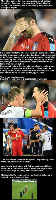 Buffon and Schweinsteriger two legends true sportsmanship. One awesome match.