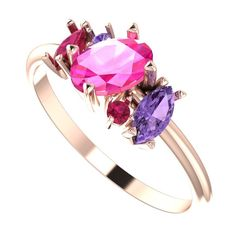 Atlantis Rose Sunrise A unique, unusual end quirky handmade engagement ring exclusive to Nude Jewellery. #rose #gold #engagement #rings #pink #sapphire #purple #ruby #cluster #unusual