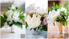 Mint Julep vases with roses and lavender (Christian Oth photography)