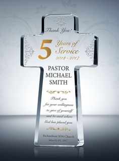 Rejoice with the pastor, minister, or church leader in celebrating their accomplishments!  This beautiful crystal cross plaque is a unique gift choice recognizing your devoted pastors!