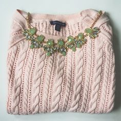 Pink Cableknit American Eagle Sweater This pink sweater is perfect for this upcoming Spring  It has three quarter length sleeves and no flaws (only worn once). American Eagle Outfitters Sweaters Crew & Scoop Necks