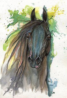 Kết quả hình ảnh cho tranh ngựa màu nước