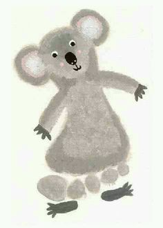 footprint craft, k is for koala-for Tenley (forgiveness- walk in your neighbors shoes Daycare Crafts, Crafts For Boys, Baby Crafts, Art For Kids, Daycare Rooms, Kid Crafts, Toddler Art, Toddler Crafts, Infant Crafts
