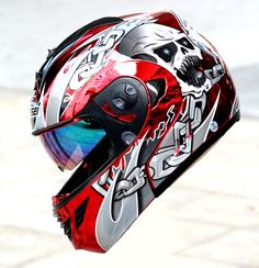 Masei Red Chrome Skull 822 Flip-Up Motorcycle Helmet Free Shipping Worldwide