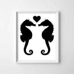 Seahorse, Seahorse print, black Seahorse, Seahorse printable, Seahorse poster, Sea life, love, Sea print, ocean art, sea horse
