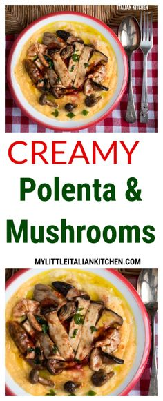 Creamy polenta and mushrooms - a healthy gluten free meal