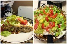 THM Trim Healthy Mama Taco Pie Deep S 1 lb ground turkey seasoned with taco seasoning (I haven't found a plan frenzy seasoning)and browned with onion -  Put in a pie plate and mix with 4 eggs and a can of tomatoes and green chilis. Top with shredded cheddar cheese  Bake at 350 degrees 25 minutes Take out and let it cool a little and top with sour cream and chopped romain and tomatoes.