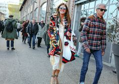 Anna Dello Russo in a Missoni coat and Gianvito Rossi shoes