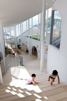 KEI SASAKI / INTERMEDIA steps the atago nursery to the sloped terrain of nagasaki KEI SASAKI steps the atago nursery to the sloped terrain of nagasaki designboom Organic Architecture, School Architecture, Interior Architecture, Nagasaki, Arch Interior, Interior Design Living Room, Kindergarten Design, Kids Wall Decor, Nursery School