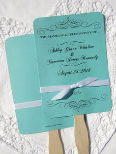 Personalized Wedding Fans Hand Tiffany Blue By Abbey And