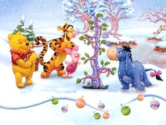 Eeyore, Piglet, Pooh and Tigger
