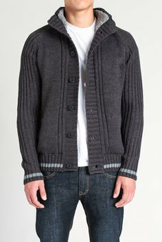Stripe Accent Cardigan Sweater - American Stitch - Sweaters : JackThreads
